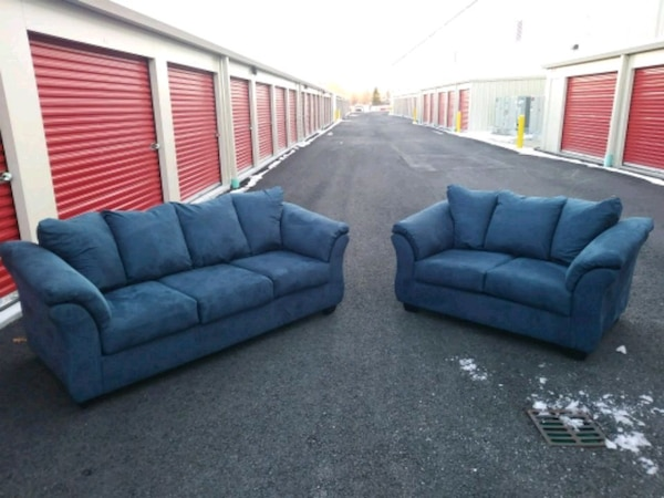 Used Ashley Furniture Blue Microfiber Couch & Loveseat for sale in ...