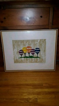 brown wooden framed painting of red petaled flowers Toronto, M3H
