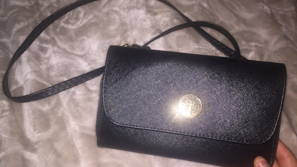 Small black shoulder leather fashion purse