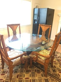 Glass dining breakfast table with four chairs set Fairfax, 22032
