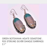 pair of silver-colored and teal earrings 777 km