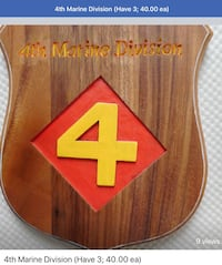 4th Marine Division Plaque, beautiful finished monkey wood 40 ea  953 mi