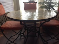 """Authentic Moroccan Mosaic Tile 30"""" tall table and wrought iron chairs"""