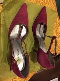 Pair of red suede pointed-toe d'orsay pumps Birmingham, 35214