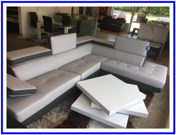 Used, white leather sectional sofa with coffee table for sale  KISSIMMEE