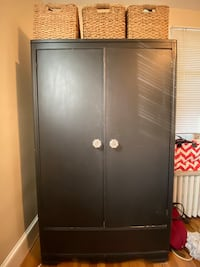 Black Armoire/Wardrobe - New Glass Handles