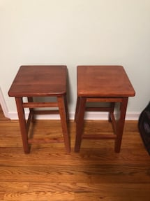 Cherry finished wood stools
