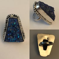 Sterling silver and blue Druze hand made ring