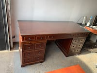 Two tier solid wood desk with glass finish and chair included!! Toronto, M3H 3C1