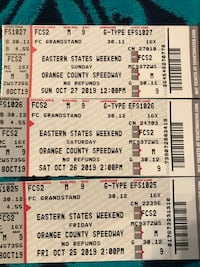 EASTERN STATES WEEKEND 2  3 DAY PASSES. FC2 ROW M SEAT 8&9  220 obo  Pine Bush, 12566