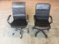 two black leather rolling armchairs 马卡姆, L6B 0P3