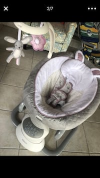 baby's gray and white cradle n swing null