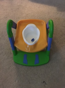 Blue, green, and beige potty trainer