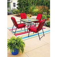 Red 5-Piece Patio Dining Set, Red, Seats 4 Ashburn, 20147