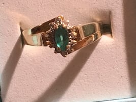 May birthstone  10 kt gold emerald and diamond ring