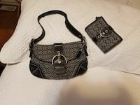 women's gray and black shoulder bag and wallet