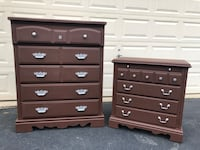 Solid Wood Tallboy Dresser With Nightstand Chocolate Brown With Silver Handles  Manassas, 20112