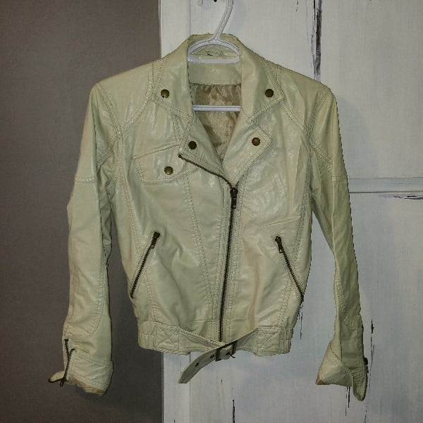 Leather-look bomber jacket (size S/M)