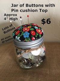 clear glass jar and assorted button and pin cushion top Gilbert, 85233