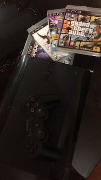 Black sony ps3 super slim 500 GB with controller and 4 games no hdmi cable obo 913 mi