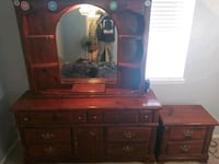 brown wooden dresser with mirror and end table Thornton, 80602