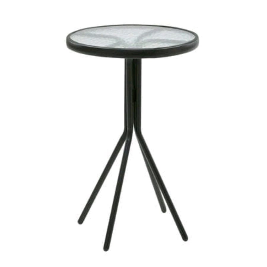 "Brand new 18"" glass top round end table"