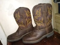pair of brown leather square-toe cowboy boots 867 mi