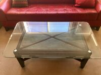 rectangular brown wooden framed glass top coffee table Surrey, V3S 4S6
