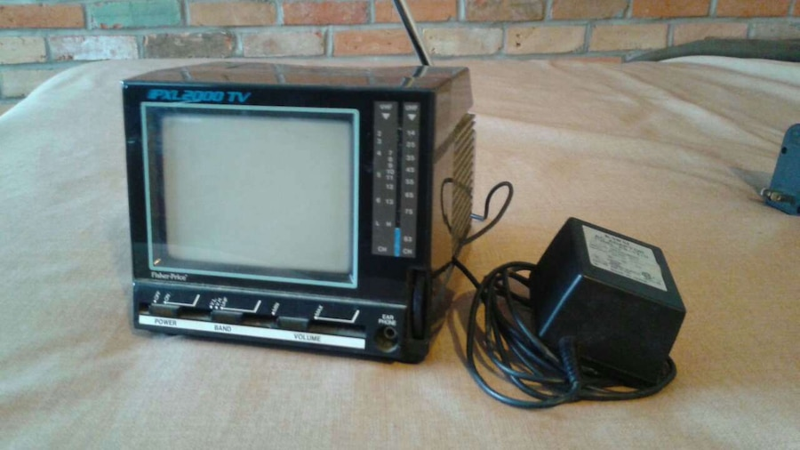 black and blue CRT TV