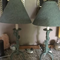 Table  lamps. Set of two . Metal base Very nice leaf design . Colour light green. 15 each prefer to sell as pair .