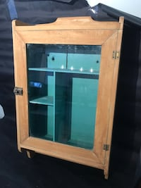 Antique glass window wood medicine cabinet.  display pharmacy