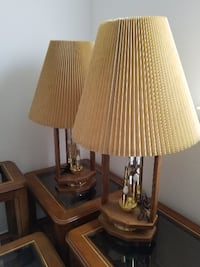 Oak & Etched Glass Night Light Table Lamps Richmond