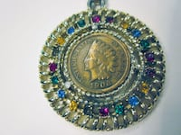 Necklace/Pendant. 1906 Indian Head Penny W/ Colored Stones Catharpin