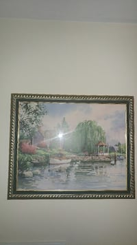 Picture lake and cottage scene. Pretty frame. Toronto