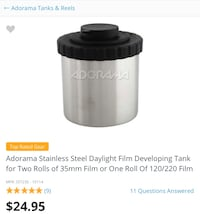 Adorama Stainless Steel Daylight Film Developing Tank for Two Rolls of 35mm Film or One Roll Of 120/220 Film Cerritos, 90703