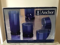 Anchor Hocking set of 16 blue Manassas, 20112
