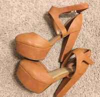 Pair of brown leather open toe ankle strap heels Phoenix, 85029