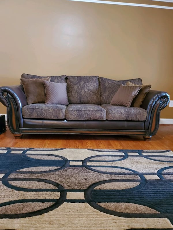 Couch Set Bobs Furniture: Brown Leather & Cloth  a137c541-10d5-4318-b796-e515d66f3c14