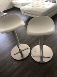 two white leather bar stools 45 km