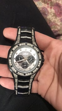 Round silver-colored chronograph watch with link bracelet Chattanooga, 37407
