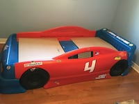 Red and black car bed frame
