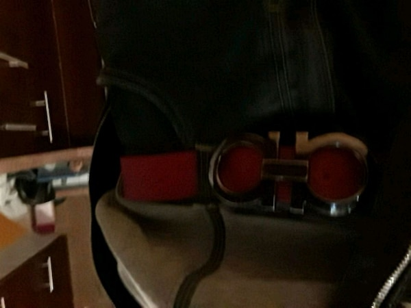 red Salvatore Ferragamo leather belt