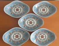 four white-and-blue ceramic plates Richmond, V7E 4Y7