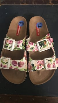 Women's pair of white , brown and pink floral sandals Gaithersburg