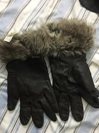 Brown leather fur gloves by DANIER Seattle, 98105
