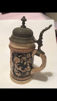 Antique German beer stein Pewter top Very old Jersey City, 07310