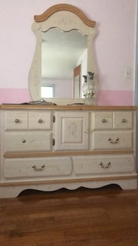 white and brown wooden dresser with mirror Syracuse, 13214