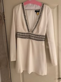 White and silver-colored v-neck long sleeve dress