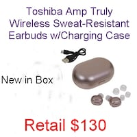 Toshiba Amp Truly Wireless Sweat-Resistant Earbuds w/Charging Case Lanham