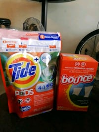 assorted Tide and Bounce cleaning products Vancouver, V6B